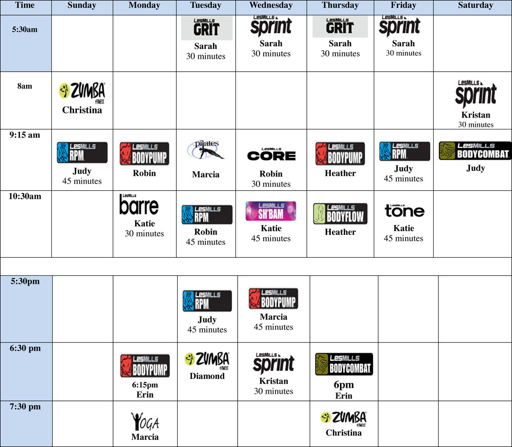 gibsons exercise class calendar